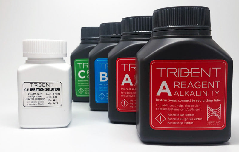 Neptune Systems Trident Reagent Alk A ALkalinity B Ca Calcium C Mg Magnesium Calibration solution 2 month two