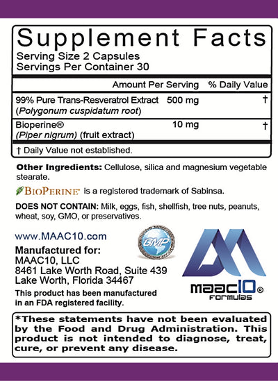 MAAC10 - Trans Resveratrol 500mg 3-Pack, Very High Potency Formulation (99% Purified Trans-Resveratrol Extract + BioPerine)