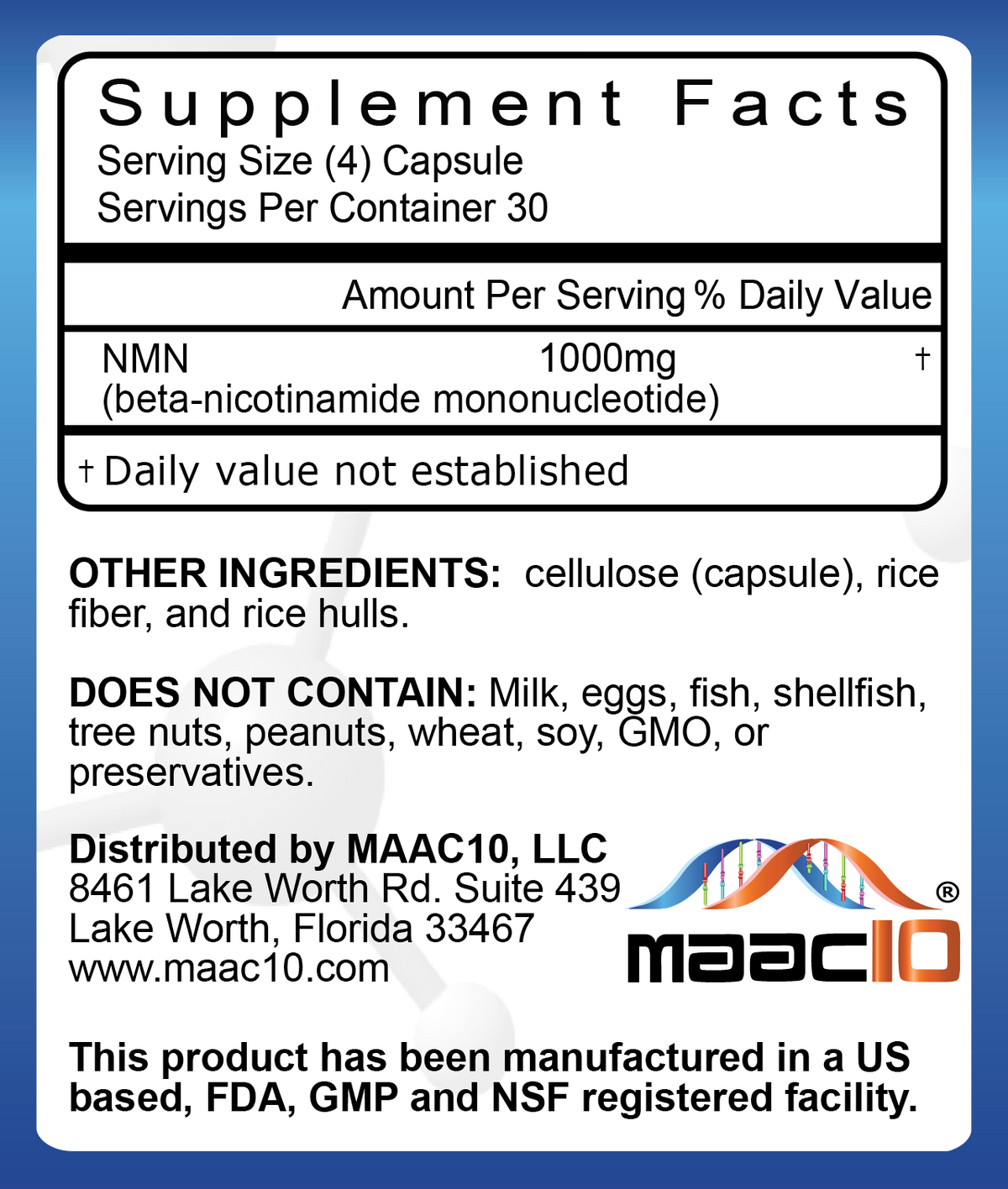 MAAC10 NMN 1000MG Serving Supplement - Nicotinamide Mononucleotide NAD+ Support (120 250MG CAPS)