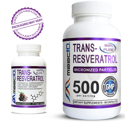 MAAC10 - Trans Resveratrol 500mg 3-Pack, Very High Potency Formulation (99% Pure Micronized Trans-Resveratrol Extract + BioPerine)