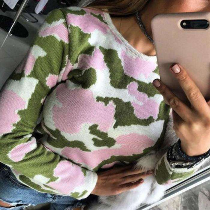 2018 New Women Slim Fit Pullovers Sweater Camouflage Long Sleeve Autumn Winter Sweaters Fashion Sweater Women Casaco Feminino Pullovers New Heaven Store