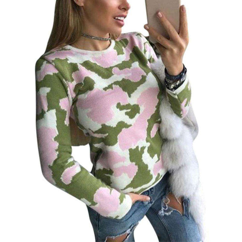 2018 New Women Slim Fit Pullovers Sweater Camouflage Long Sleeve Autumn Winter Sweaters Fashion Sweater Women Casaco Feminino Pullovers New Heaven Store Green S