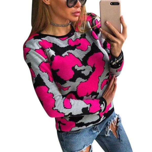 2018 New Women Slim Fit Pullovers Sweater Camouflage Long Sleeve Autumn Winter Sweaters Fashion Sweater Women Casaco Feminino Pullovers New Heaven Store hot pink S