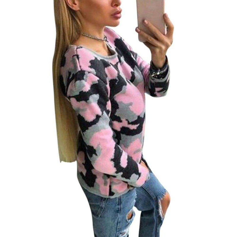 2018 New Women Slim Fit Pullovers Sweater Camouflage Long Sleeve Autumn Winter Sweaters Fashion Sweater Women Casaco Feminino Pullovers New Heaven Store Pink S