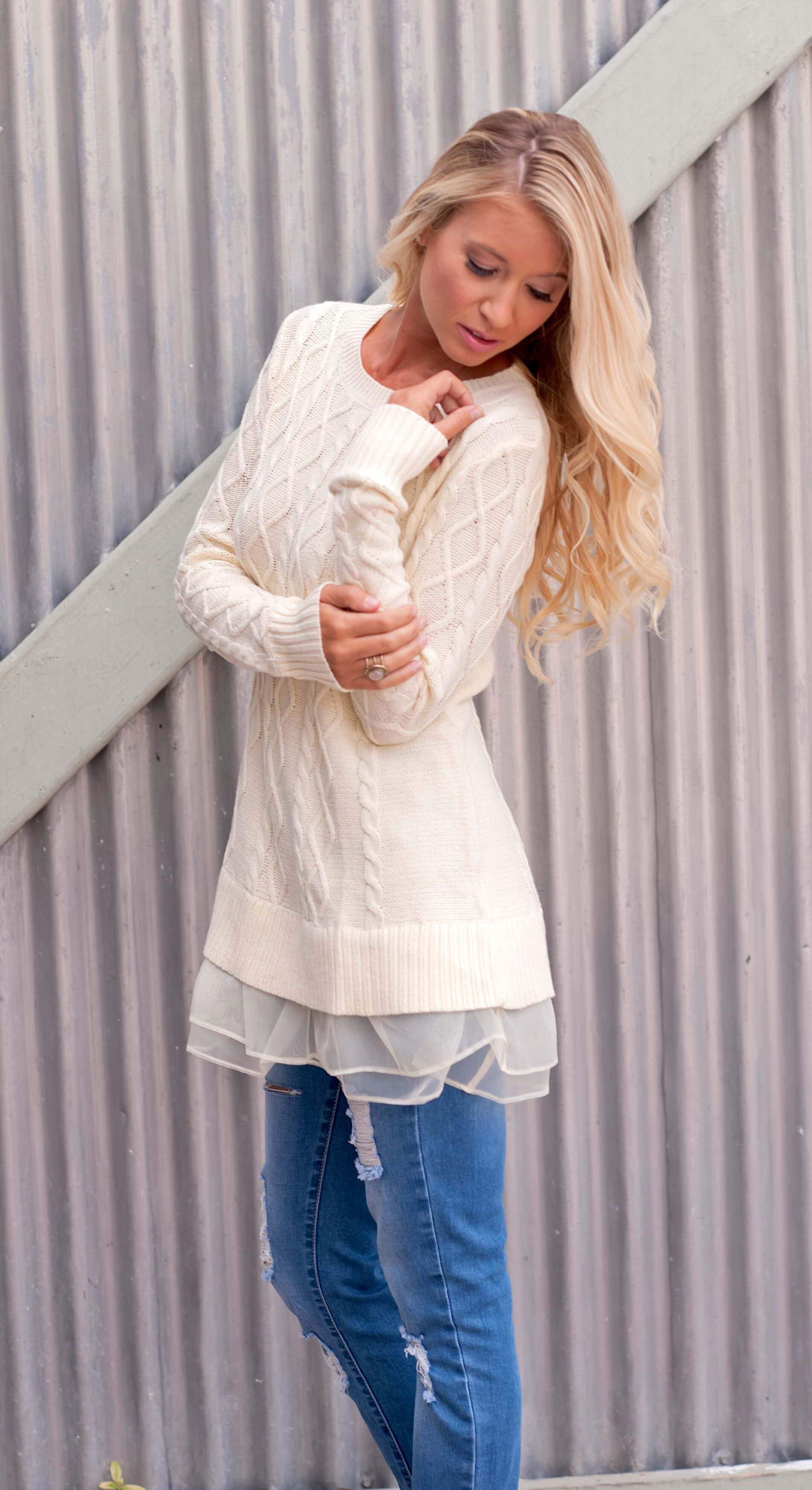 ⭐️⭐️⭐️⭐️⭐️Cableknit Laced Sweater Sweaters Hanlink