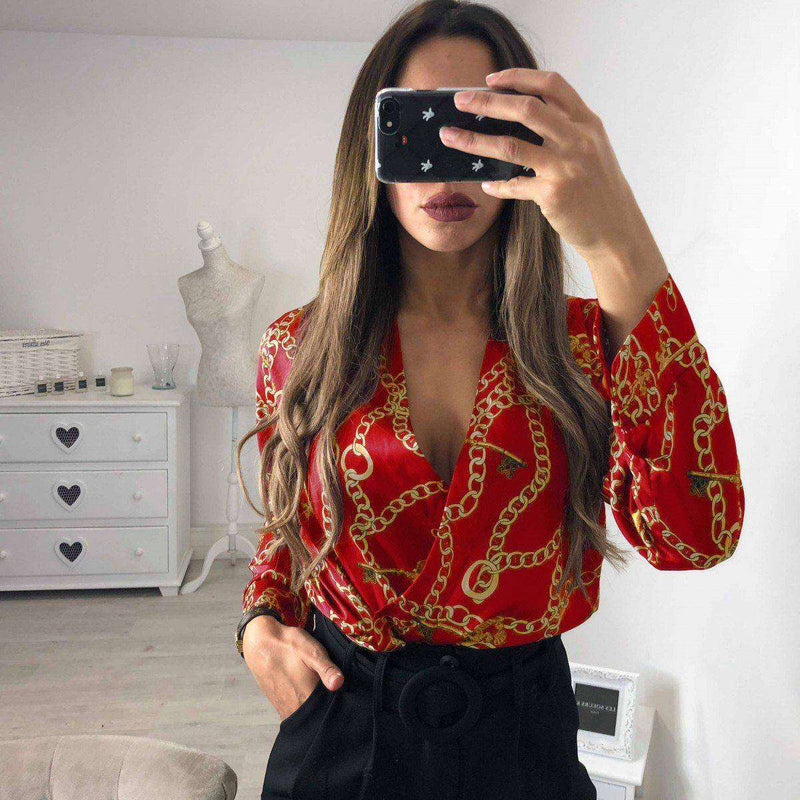 New Women Floral V Neck Long Sleeve Romper Bodycon Bodysuit Jumpsuit Leotard Tops Bodysuits ABC