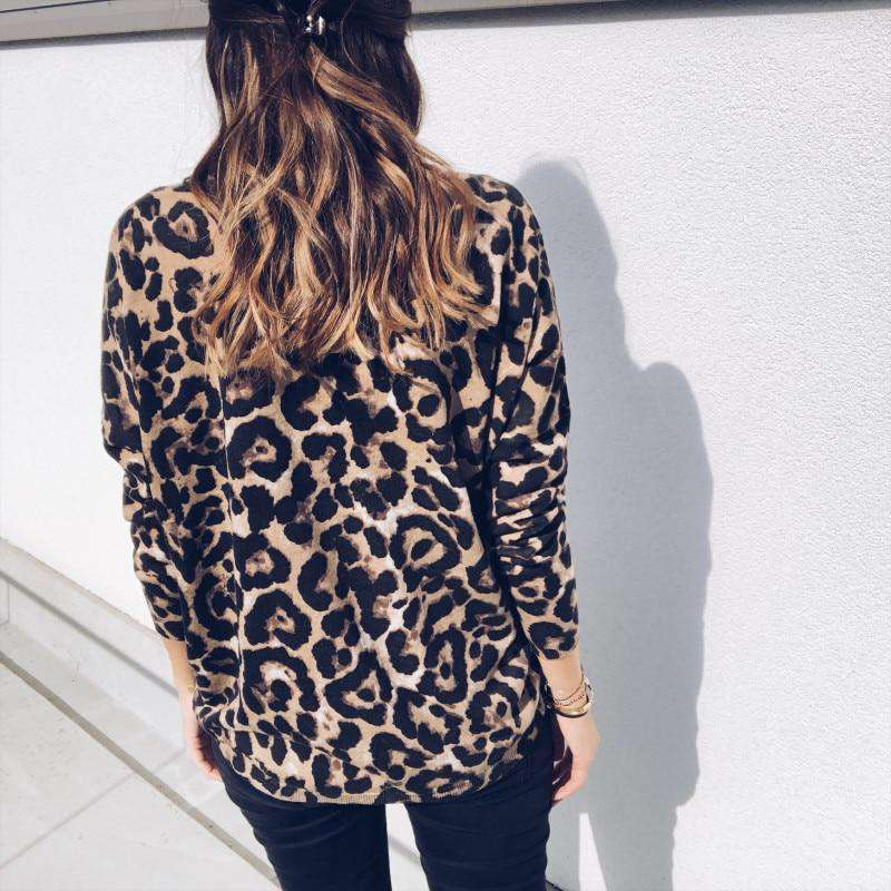 New Women Leopard Print V Neck Ladies T-Shirts Long Sleeve Loose T Shirt Basic Top T-Shirts ABC