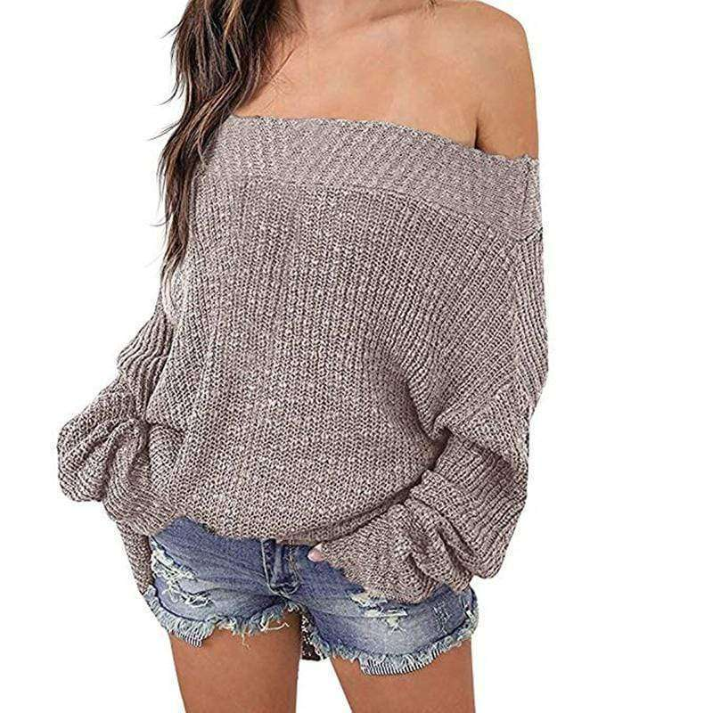 (Pre-Order) Addy Off Shoulder Pullover Sweater Military Hippie One Size Grey