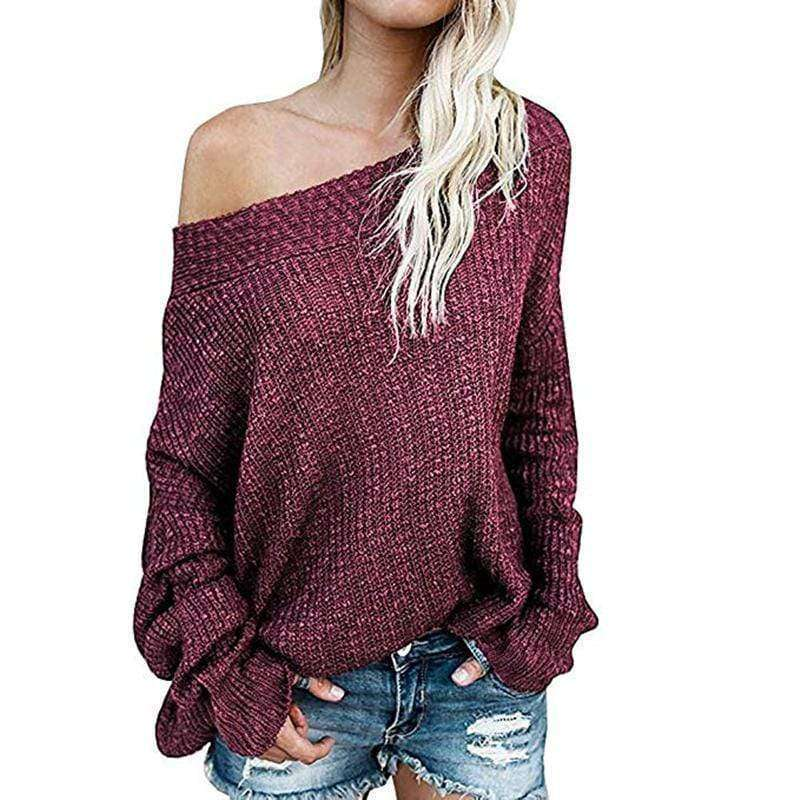 (Pre-Order) Addy Off Shoulder Pullover Sweater Military Hippie One Size Wine