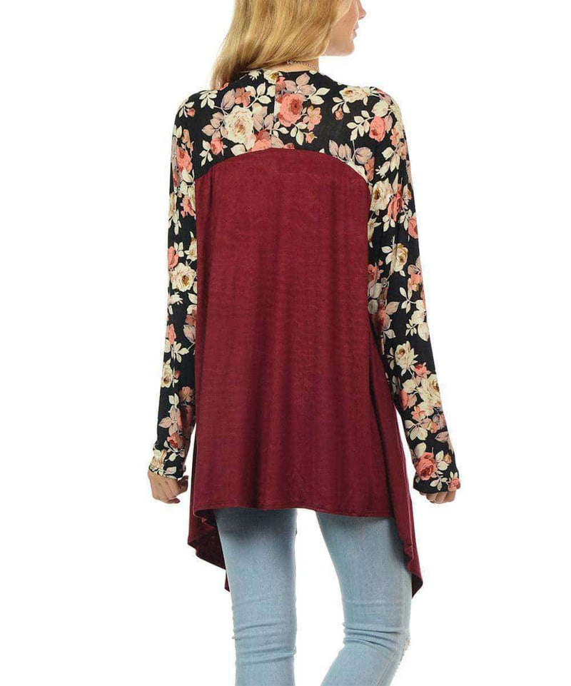 (Pre-Order) Betsy Floral Print Long Sleeve Cotton Cardigan Military Hippie