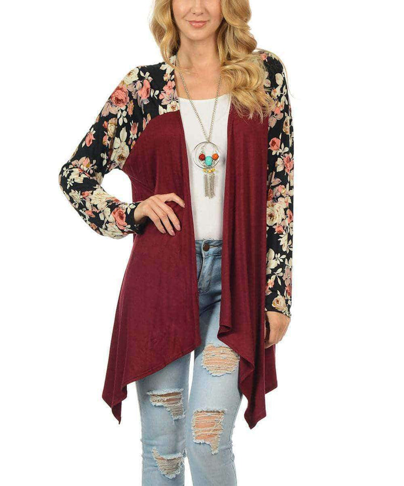 (Pre-Order) Betsy Floral Print Long Sleeve Cotton Cardigan Military Hippie S Red