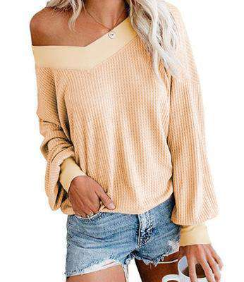 (Pre-Order) Brianna Off Shoulder Waffle Knit Top Military Hippie