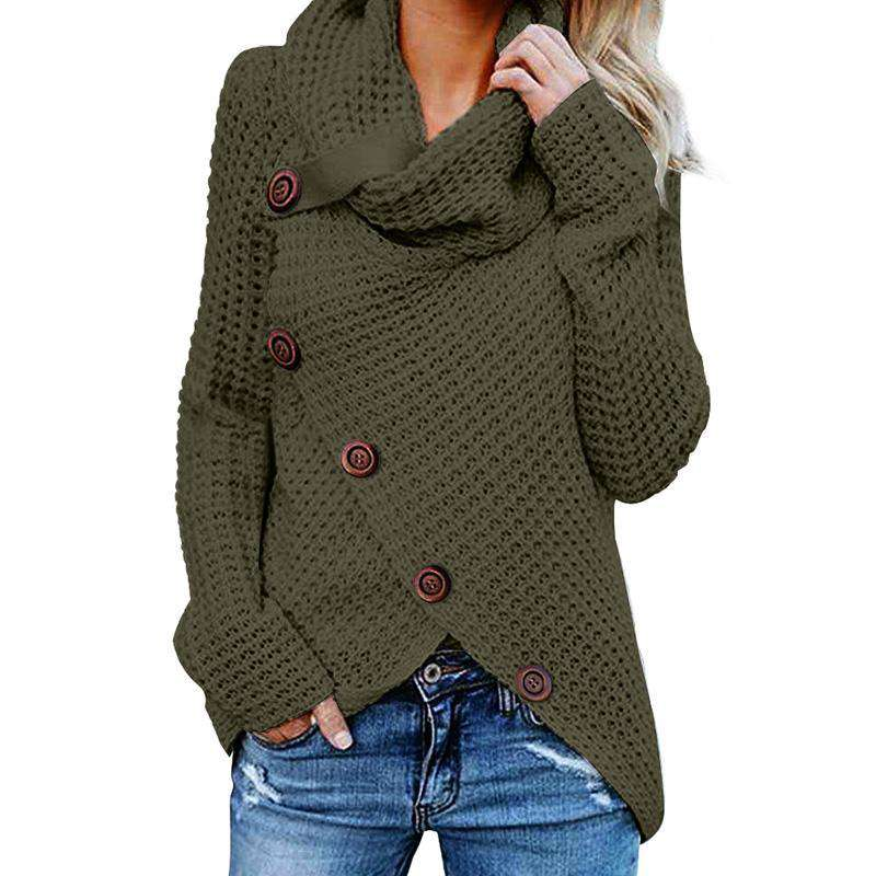 (Pre-Order) Brooke Wrap Turtleneck Knitted Wrap Sweater Military Hippie S Green