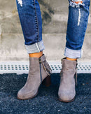 (Pre-Order) Fringe Zip Boots Ankle Boots Funny DP Shop Store
