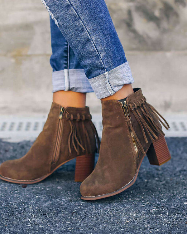 (Pre-Order) Fringe Zip Boots Ankle Boots Funny DP Shop Store Brown 35