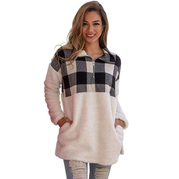 (Pre-Order) Fuzzy Plaid Detail Sweater Military Hippie S Blue