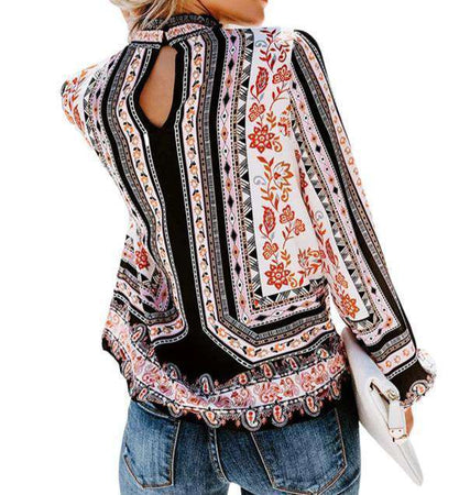(Pre-Order) Harper Tribal Print Blouse Military Hippie