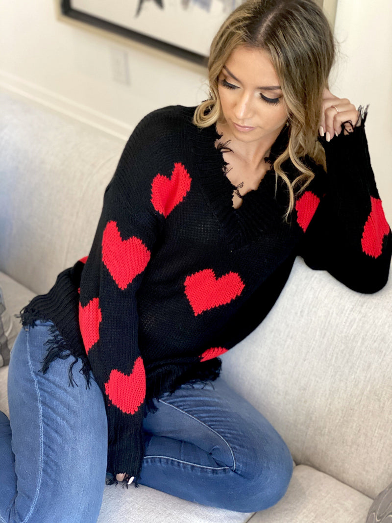 ⭐️⭐️⭐️⭐️⭐️(Pre-Order) Jackie O Heart Sweater Military Hippie