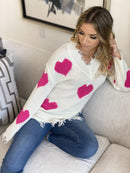 ⭐️⭐️⭐️⭐️⭐️(Pre-Order) Jackie O Heart Sweater Military Hippie S Fuchsia