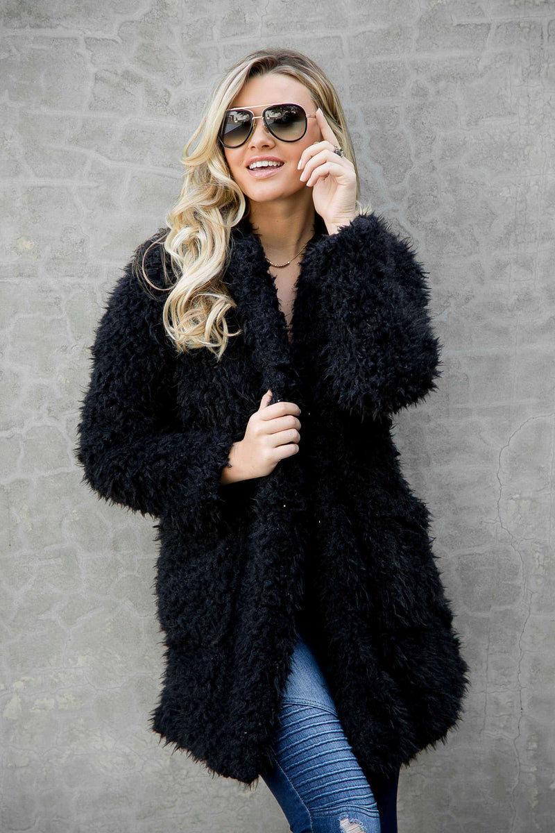 "(Pre-Order) ⭐⭐⭐⭐⭐""NEW"" Sasha Bohemian Faux Fur Coat Coats and Jackets Military Hippie Small Black"