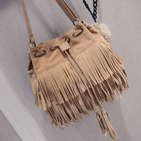 (Pre-Order) Retro Faux Suede Fringe Women Messenger Bags Top-Handle Bags Valuefull Store Beige
