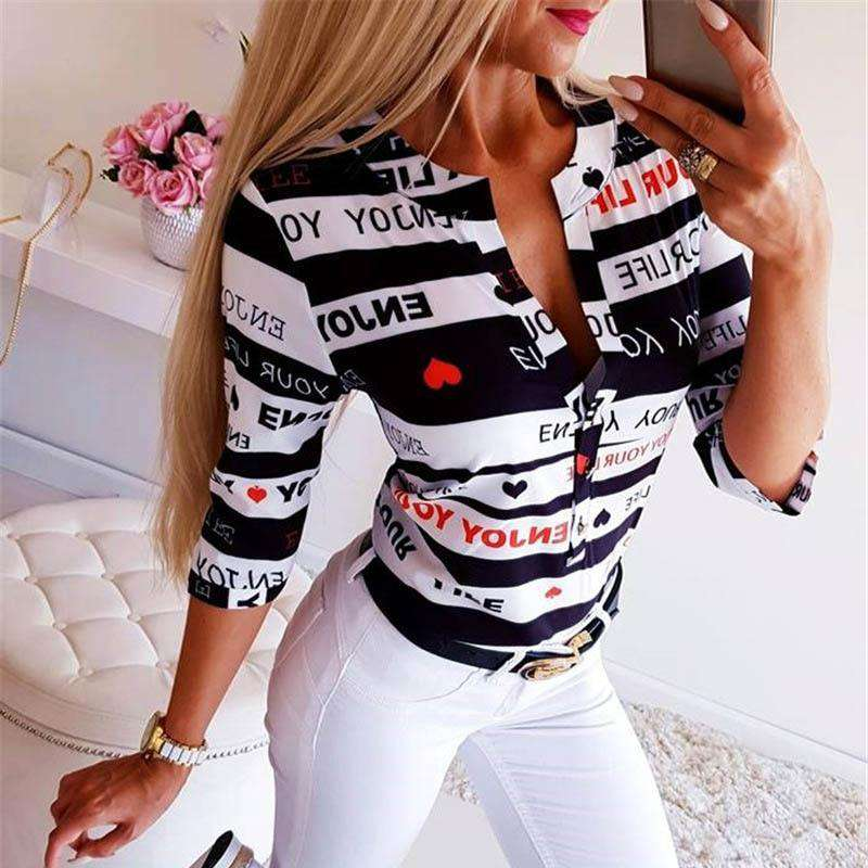 (Pre-Order) Sexy Printed V-Neck Blouse Blouses & Shirts Shop4719049 Store