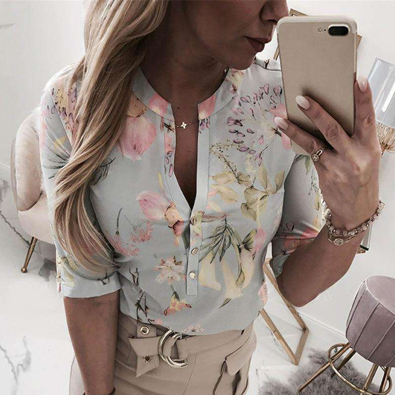 (Pre-Order) Sexy Printed V-Neck Blouse Blouses & Shirts Shop4719049 Store S Gray Green