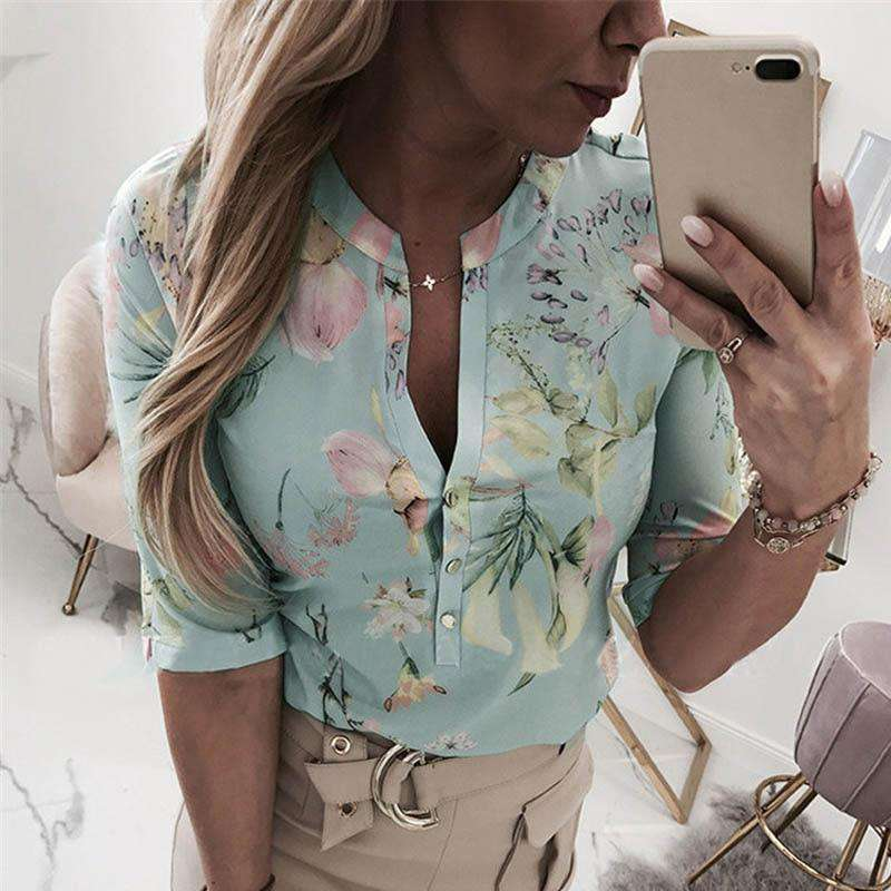 (Pre-Order) Sexy Printed V-Neck Blouse Blouses & Shirts Shop4719049 Store S Green