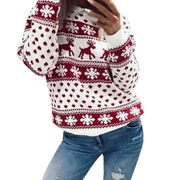 (Pre-Order) Women Xmas Christmas Floral Print Long Sleeve Blouse Top Deer Striped printed shirt Hauts de Noel pour dames Pullovers iShow Tienda red S United States