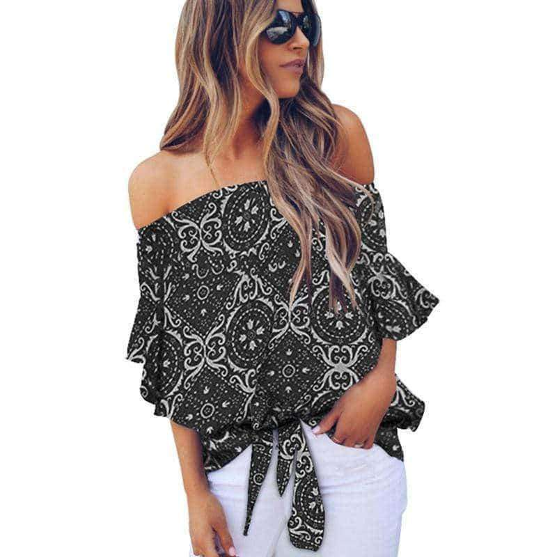 "⭐⭐⭐⭐⭐(Pre- Order)""NEW"" Emily Off Shoulder Top Military Hippie S Black Print"
