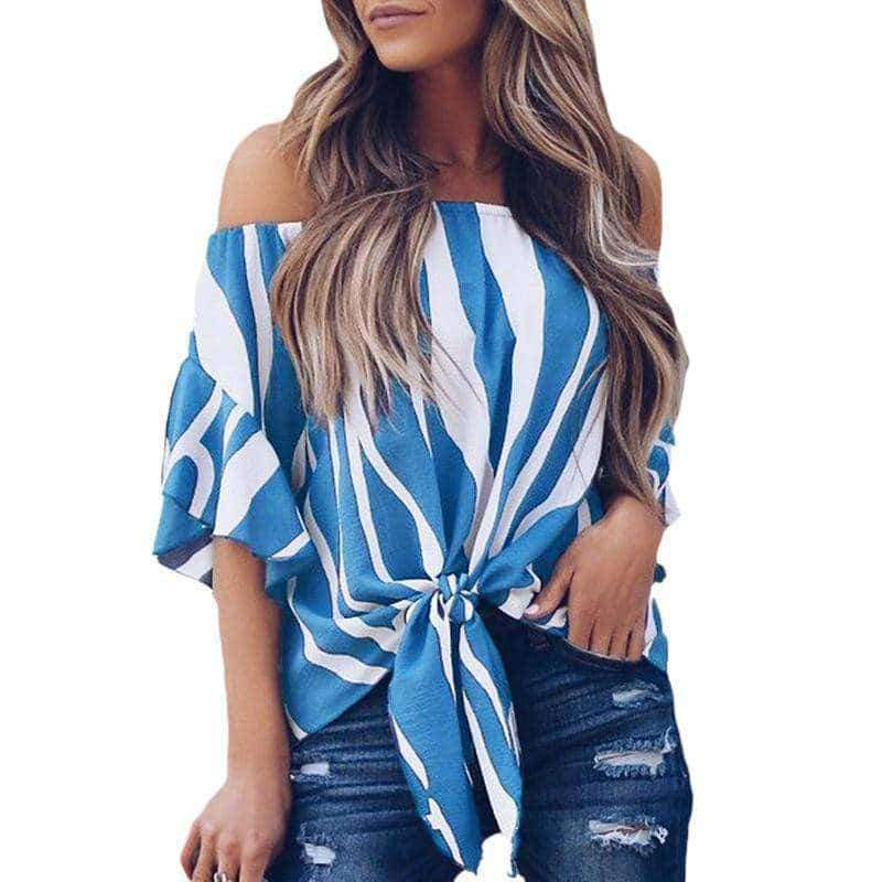 "⭐⭐⭐⭐⭐(Pre- Order)""NEW"" Emily Off Shoulder Top Military Hippie S Blue"
