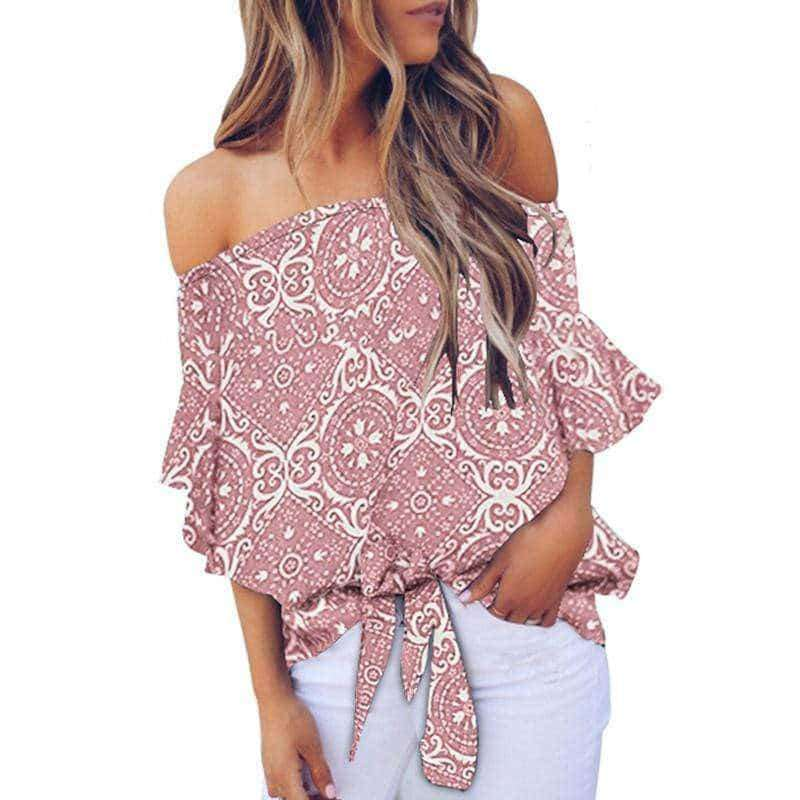"⭐⭐⭐⭐⭐(Pre- Order)""NEW"" Emily Off Shoulder Top Military Hippie S Pink"