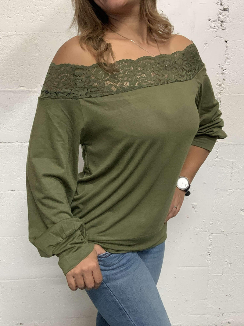 Scarlett Lace Detail Pullover Blouse Military Hippie
