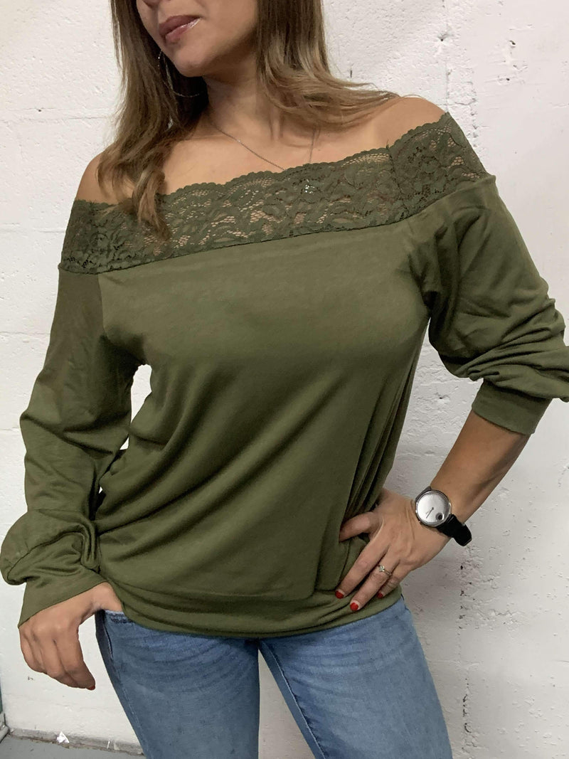 Scarlett Lace Detail Pullover Blouse Military Hippie S Green