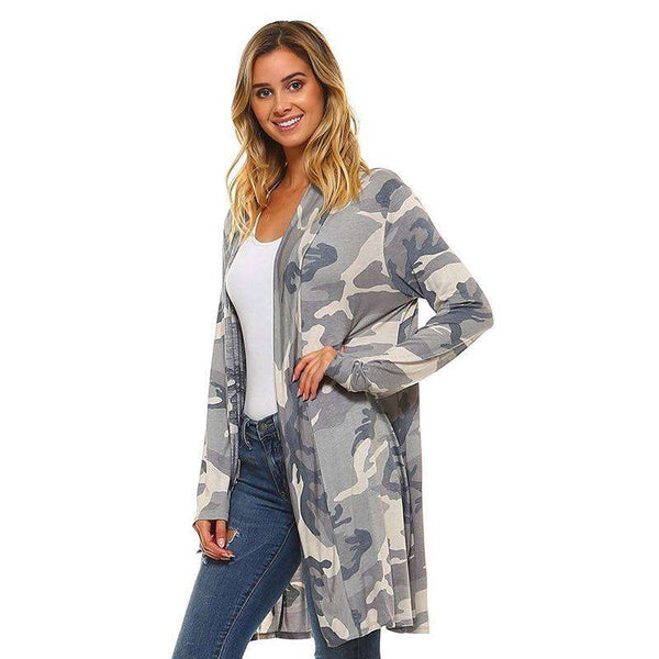 Womens Camouflage Casual Cardigan Loose Sweater Camo Long Sleeve Outwear Jacket Coat Tops Cardigans ABC S