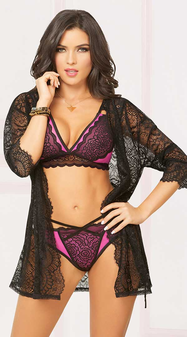 Sheer Lace Robe With Sleeves