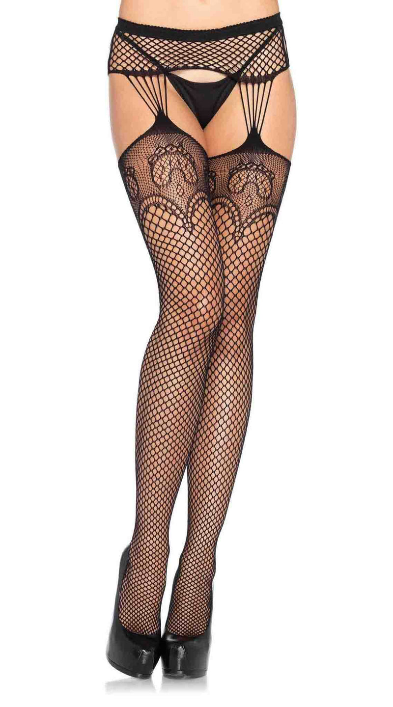 Industrial Net Garterbelt Stockings