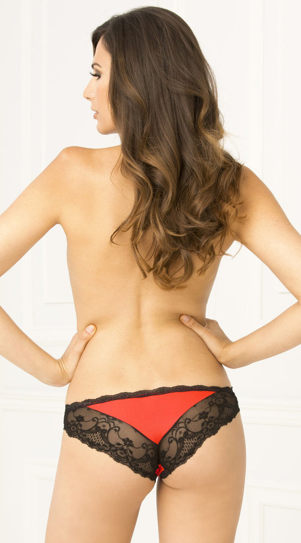 Crotchless Lace V Red with Black