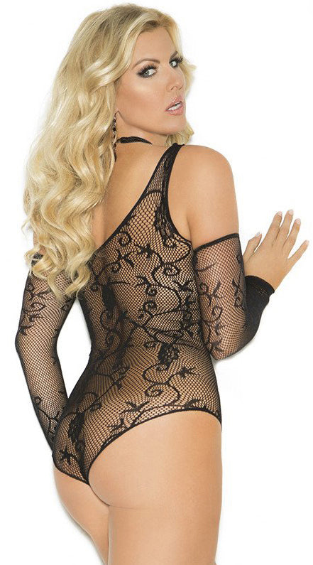 Two Piece Floral Fishnet Teddy and Gloves