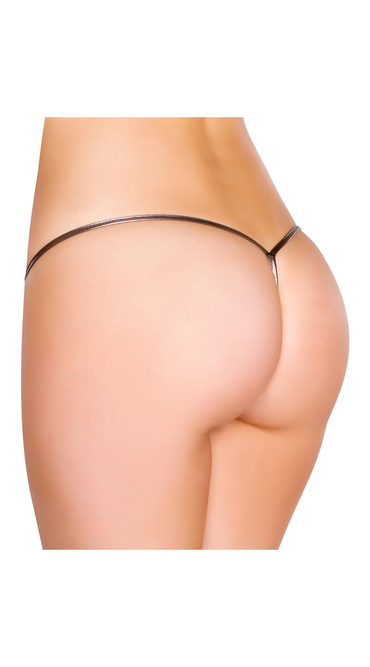 Gun Metal Metallic Low Rise String Back Bottom