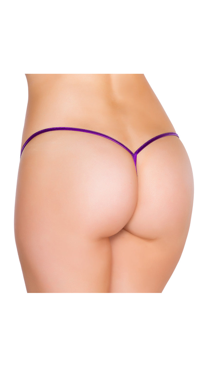 Purple Metallic Low Rise String Back Bottom