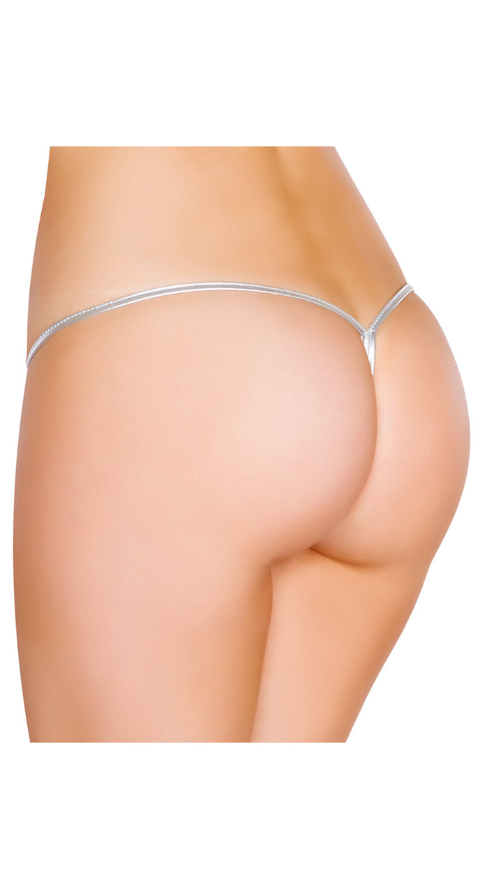 Silver Metallic Low Rise String Back Bottom