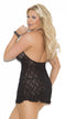 Black Stretch Lace Halter Nightie - ElegantStripper