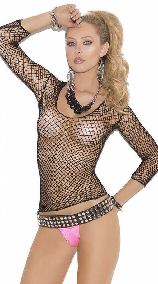 Black Long Sleeve Fishnet Top - ElegantStripper