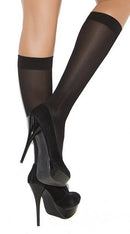 Black Opaque Knee High Stockings - ElegantStripper