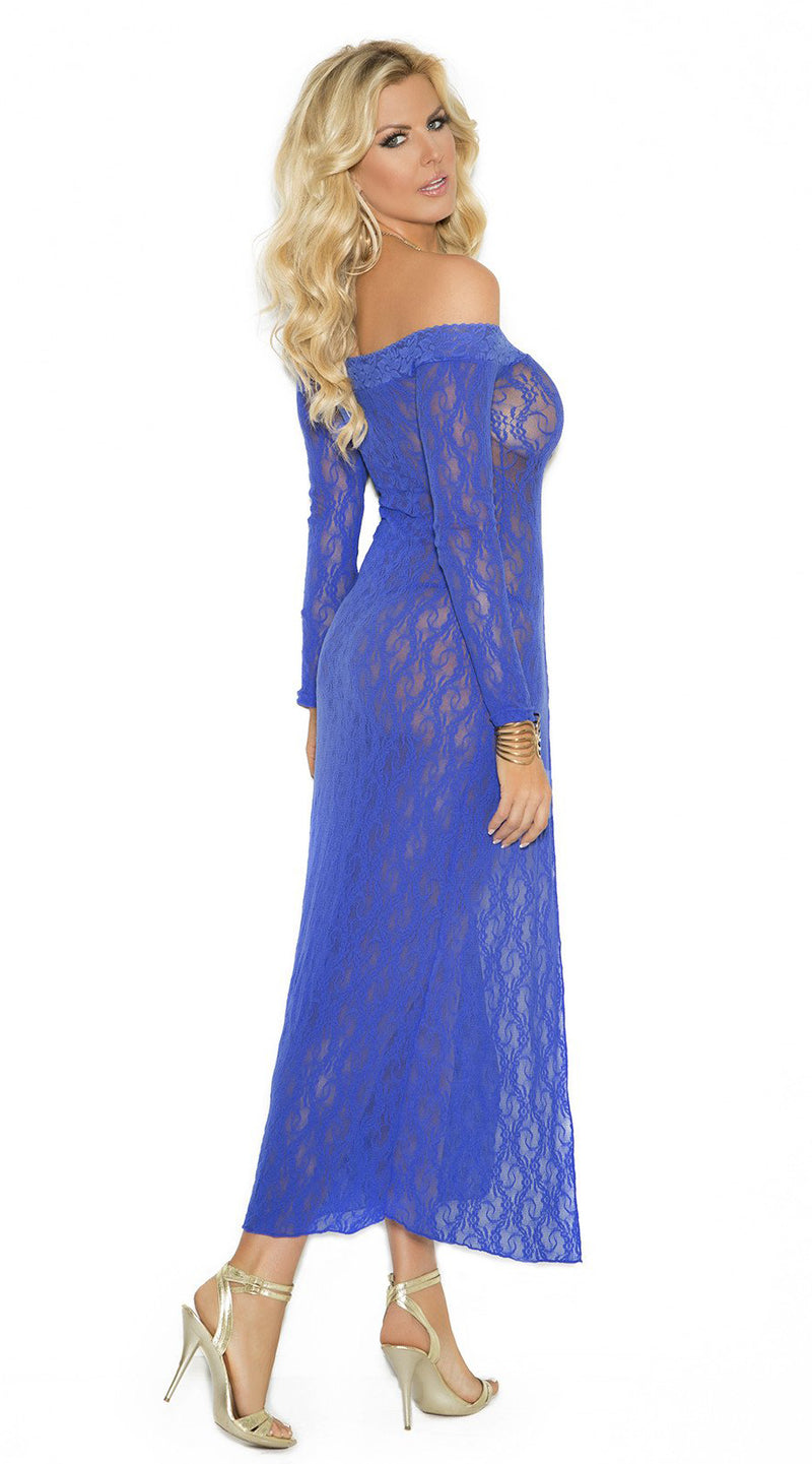 Two Piece Long Sleeve Lace Gown and G-String
