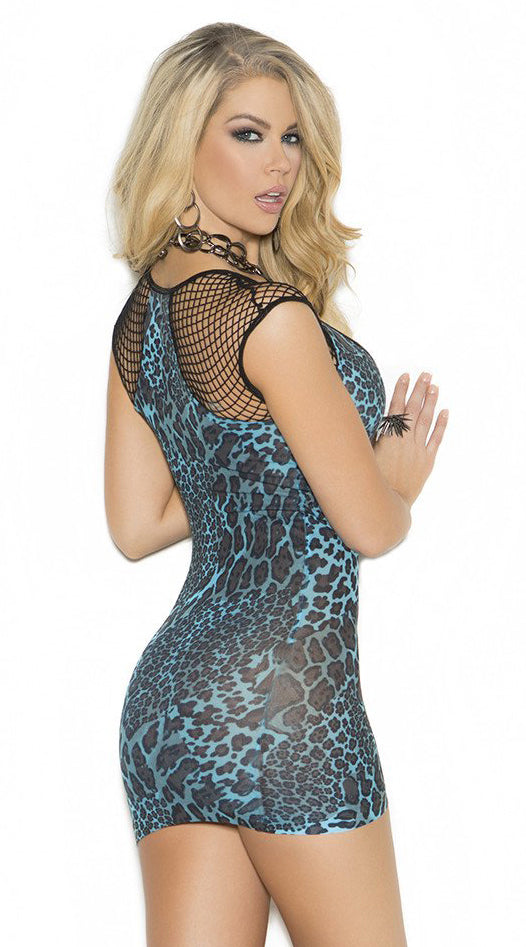 Deep V Mini Dress with Diamond Net