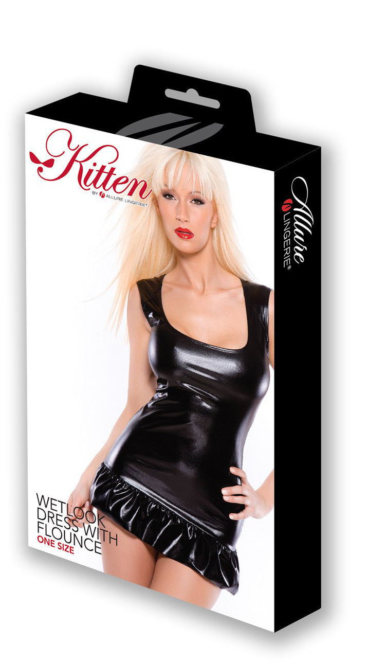 Kitten Wet Look Dress with Flounce