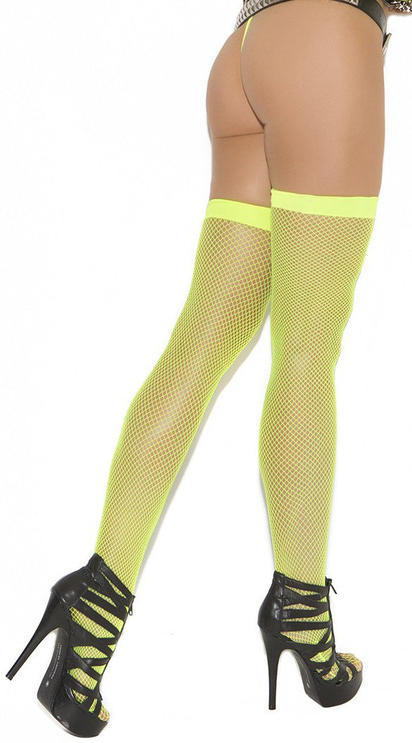Neon Green Fishnet Thigh Highs
