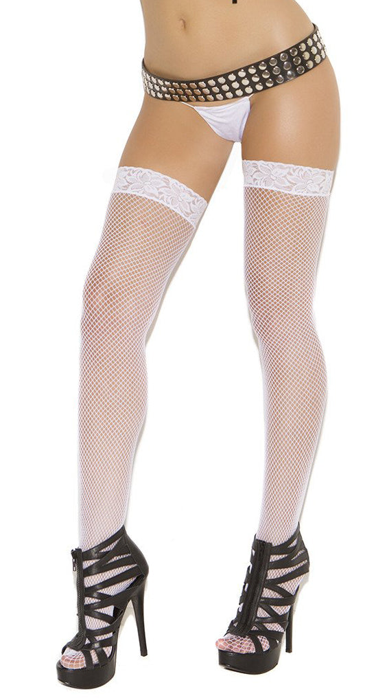 White Lace Fishnet Thigh High